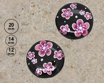 2 silver rose flowers 20 mm 14 mm 12 mm cabochons