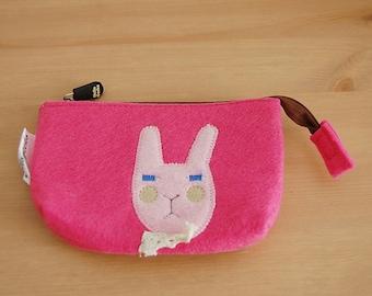 Coin purse / cosmetic felt Bunny 14 × 10cm