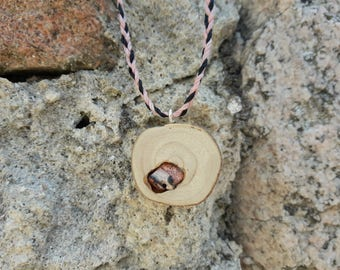 Embedded Jasper wood necklace / pendant Natural wood with stone Jasper / Hippie / ethnic