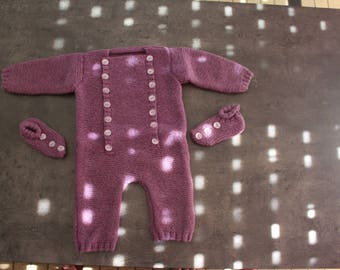 onesie 3 month purple slippers