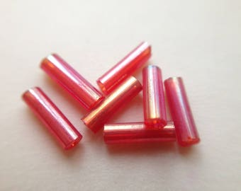 3 / set ~ 1100 seed beads tube pink glass iridescent 7mm 40gr