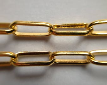 2 meters chain link bracelet color gold DORE 9.2/3.6/1 mm steel