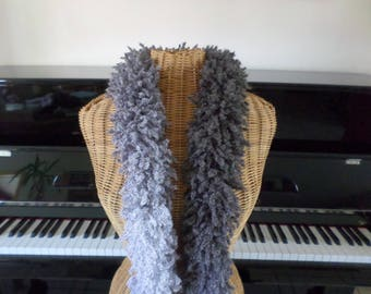 scarf made with original wool in shades of grey