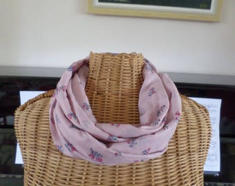 snood scarf in cotton voile and silk rose