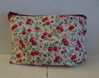 floral pouch with zipper in Burgundy