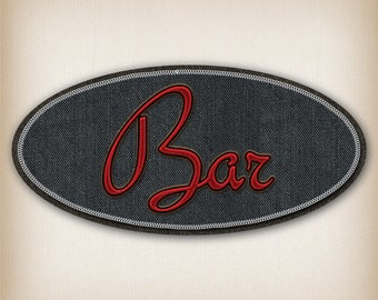 Black and Red Bar 012 Denim style door sign decal