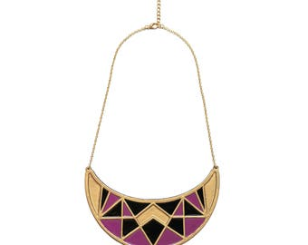 I chose purple geometric bib necklace