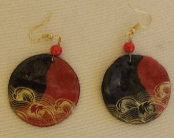 Black and Red earrings red Pearl