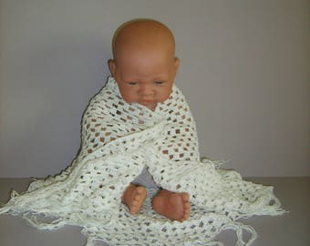 White crochet christening shawl