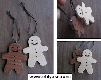 Ornaments of Christmas two snowmen made fretwork wooden gingerbread