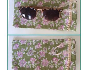 Green floral sunglasses bag