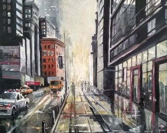 Sunset in the city. Original oil painting on canvas 27,55 x 35,43 inches (70 x 90 x 2cm)