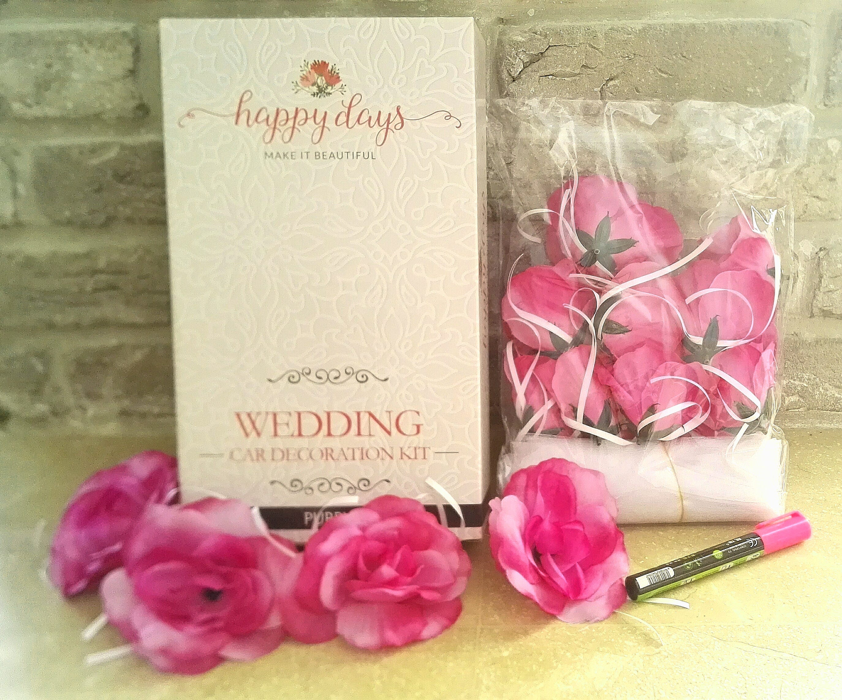 Wedding Car Decorating Kit: Organza Ribbon with artificial Flowers ...