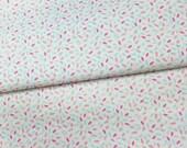"""50cm de tissu imprimé """"grain de riz rose / gris / turquoise"""" 100% coton fond blanc"""