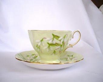 """Royal Albert Bone China """"Laurientian Snowdrop"""" Cup and Saucer"""