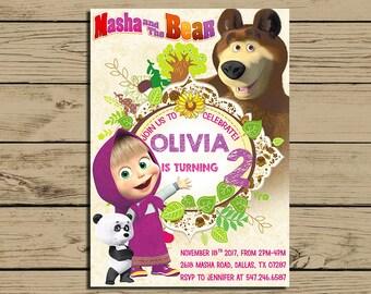 Masha And The Bear Invitation * Masha And The Bear Birthday Invite *  Masha Birthday Party Invitations * Personalized * YOU PRINT