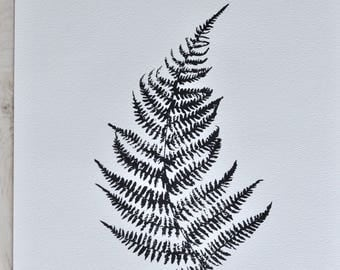 fern print - ink on watercolour paper