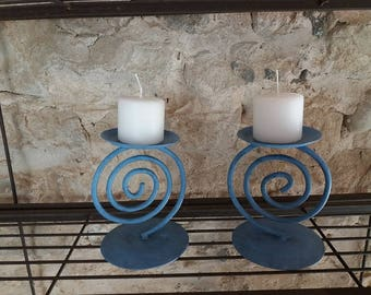 Pair of blue patina metal candle holders