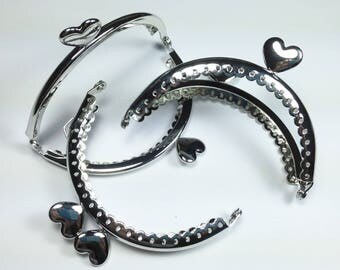 Hearts and 8.5 cm, silver lace effect clasp