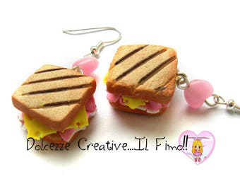 Tiny Toast earrings - sandwich with ham and cheese