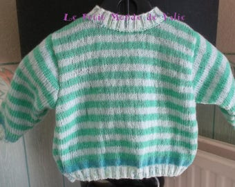 6 months baby sweater with green