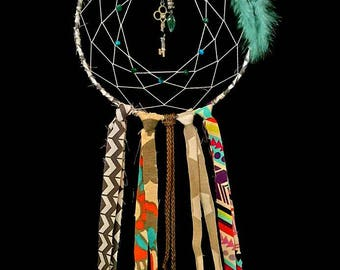 Dream Catcher teal and gray 7 in