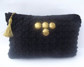 unique black tulle pattern crochet pouch