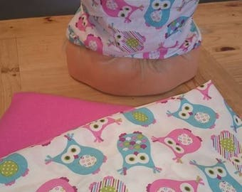 SNOOD reversible fleece neck pink and turquoise pink OWL printed cotton