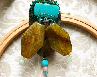 Handmade brooch in Germany with gems and minerals