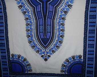 DASHIKI ANGELINA blue and white (wax) in coupon 178cm x 107cm