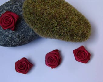 Burgundy rose satin - 2.50 cm in diameter