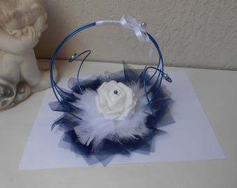 Original ring holder - Navy Blue and white with pink