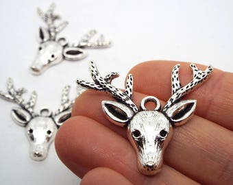 3x Deer Charm Silver Coloured 35 x 33mm, Stag Antler Pendant