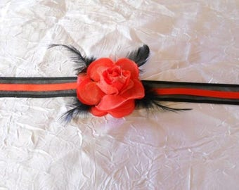 """Black """"wedding procession"""" feathers and Ribbon red flower bracelet"""