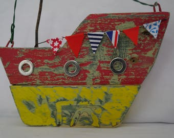 Rustic Wooden Fishing Boat Handmade from Recycled and Found items: Hand Crafted Coastal Driftwood Art Boat