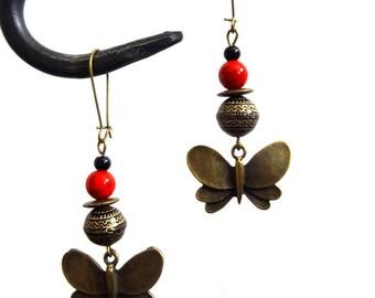 """""""Butterflies"""" ethnic chic earrings"""