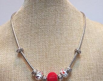 Jewelry pandora style necklace red beads