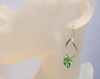 Spiral Stud Earrings green flower original