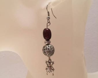 Scarab charm Brown Pearl Earrings