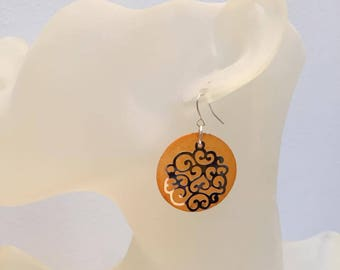 Orange mother of Pearl coin and silver lace earrings