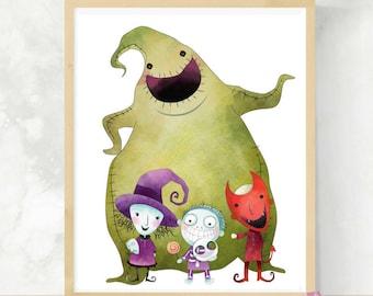 Oogie Boogie | Nightmare Print | Lock Shock and Barrel | Halloween Wall Art | Cute Halloween Art | Halloween Decor | Kids Halloween Art