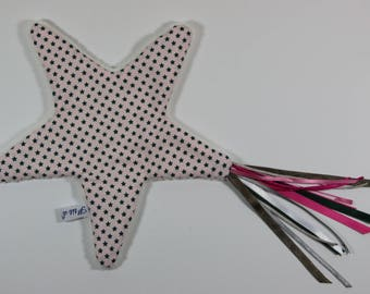 Pretty little flat plush pink shooting star.