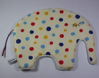 Cute cuddly elephant with multicolor polka dots.