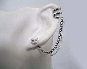 """These cuff """"Kitten with blue eyes with black & silver double chain"""""""