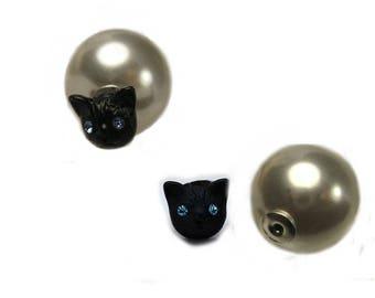 """Earring """"Double side Pearl & black kitten with blue eyes"""""""