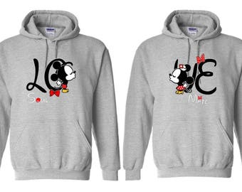 Mickey Minnie Couple Hoodies, Disney Couple Hoodies, Matching Couple Hoodies, Couple Sweatshirt, King and Queen Hoodies, Couple Sweater