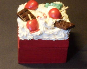 Wooden box and her love of polymer clay apples