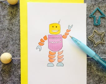 Robin robot greetings card.  Hand painted original watercolour, tech lover