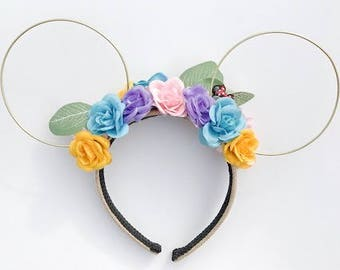Candy Roses Floral Wire Mickey Ears *REVERSIBLE*