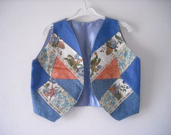vintage colorful patchwork vest